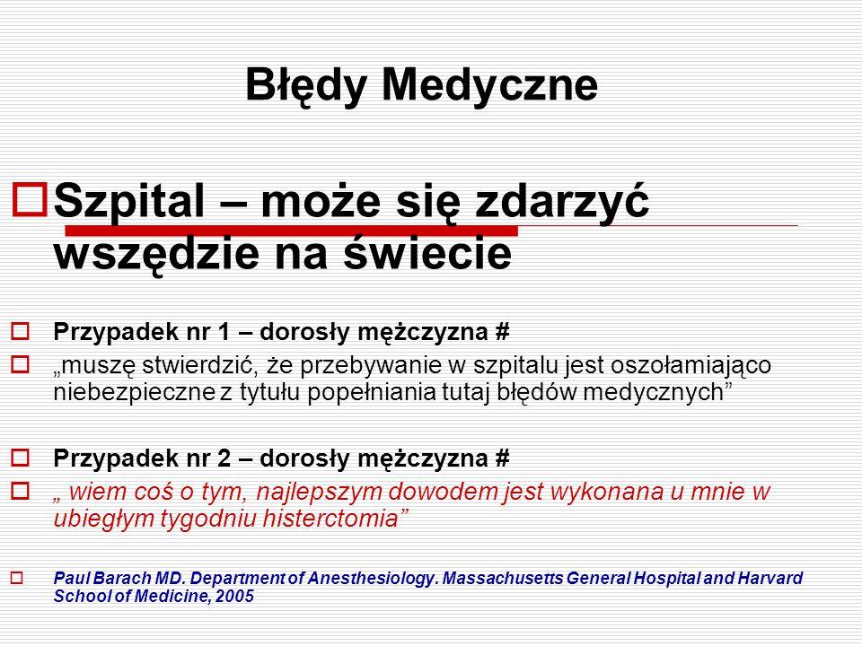 """Błędy Medyczne  Szpital – może się zdarzyć wszędzie na świecie  Przypadek nr 1 – dorosły mężczyzna #  """"muszę stwierdzić, że przebywanie w szpitalu"""