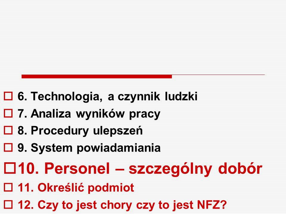  6. Technologia, a czynnik ludzki  7. Analiza wyników pracy  8. Procedury ulepszeń  9. System powiadamiania  10. Personel – szczególny dobór  11