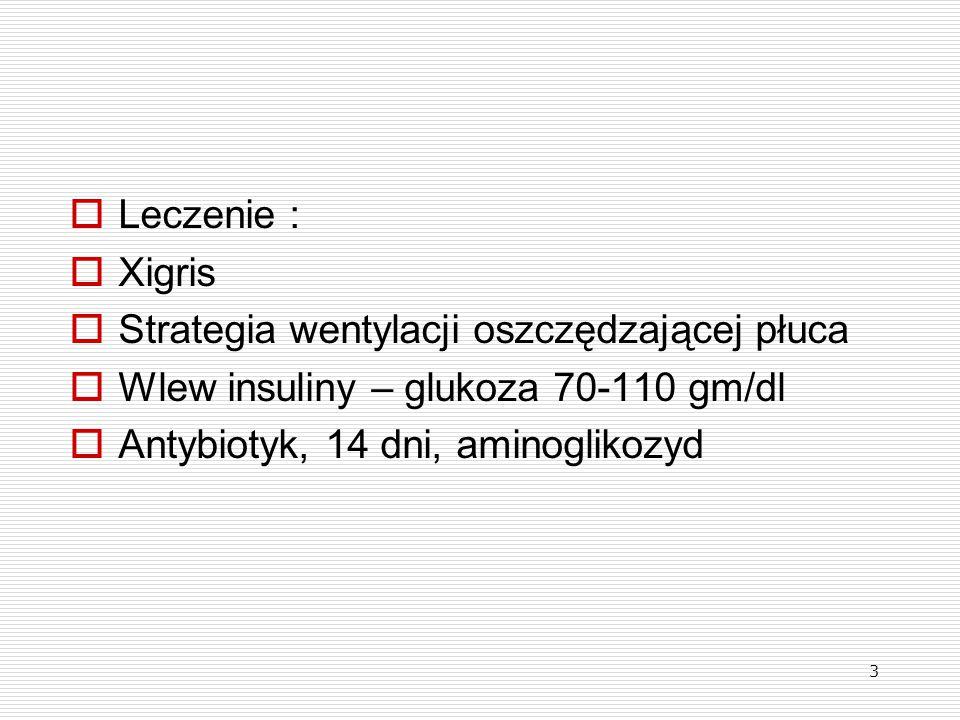 3  Leczenie :  Xigris  Strategia wentylacji oszczędzającej płuca  Wlew insuliny – glukoza 70-110 gm/dl  Antybiotyk, 14 dni, aminoglikozyd