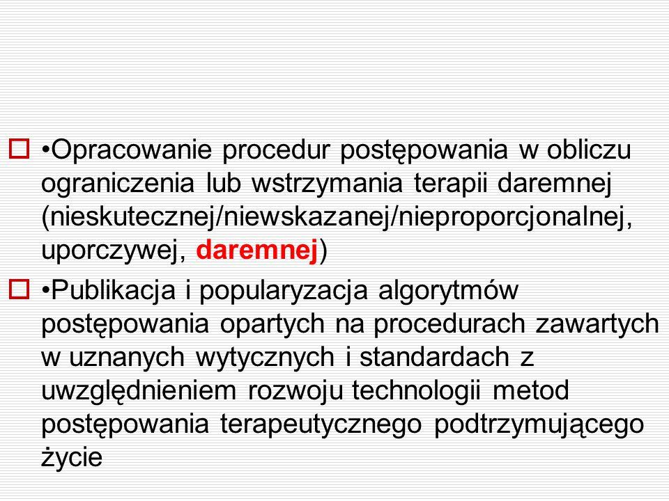  Opracowanie procedur postępowania w obliczu ograniczenia lub wstrzymania terapii daremnej (nieskutecznej/niewskazanej/nieproporcjonalnej, uporczywej
