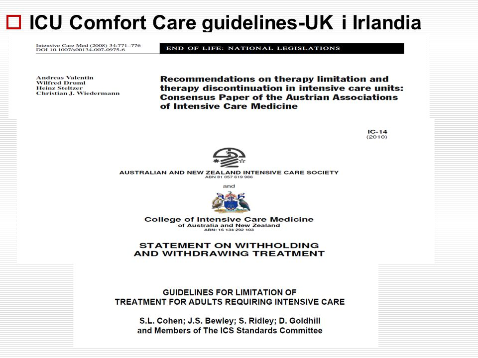  ICU Comfort Care guidelines-UK i Irlandia