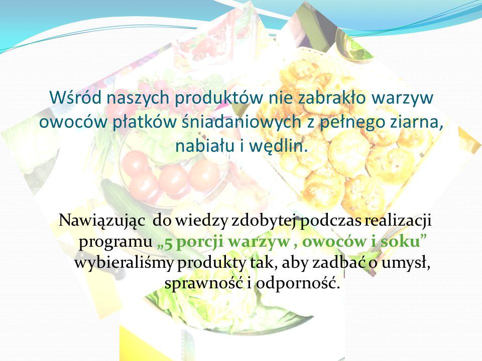 Wśród naszych produktów nie zabrakło warzyw owoców płatków śniadaniowych z pełnego ziarna, nabiału i wędlin. Nawiązując do wiedzy zdobytej podczas rea