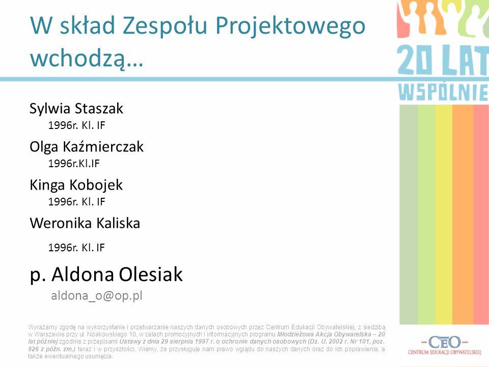 Sylwia Staszak 1996r. Kl. IF Olga Kaźmierczak 1996r.Kl.IF Kinga Kobojek 1996r. Kl. IF Weronika Kaliska 1996r. Kl. IF p. Aldona Olesiak aldona_o@op.pl