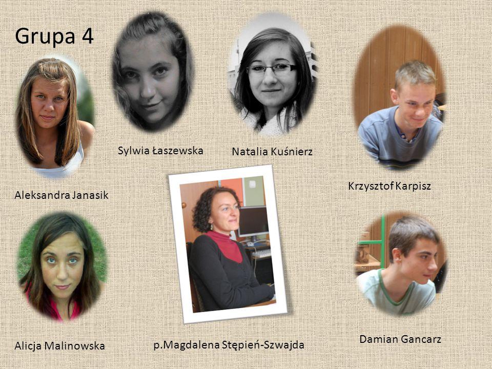 Grupa 4 Aleksandra Janasik Sylwia Łaszewska Alicja Malinowska Natalia Kuśnierz Krzysztof Karpisz Damian Gancarz