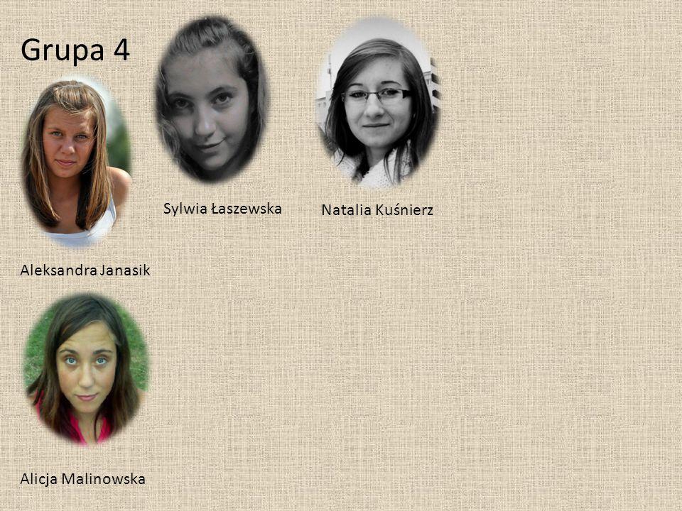 Grupa 4 Aleksandra Janasik Sylwia Łaszewska Alicja Malinowska Natalia Kuśnierz