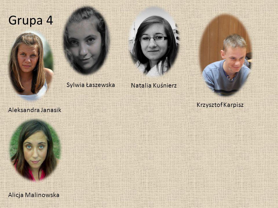 Grupa 4 Aleksandra Janasik Sylwia Łaszewska Alicja Malinowska Natalia Kuśnierz Krzysztof Karpisz