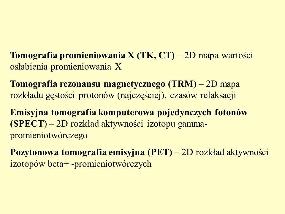 Tomografia promieniowania X (TK, CT) – 2D mapa wartości osłabienia promieniowania X Tomografia rezonansu magnetycznego (TRM) – 2D mapa rozkładu gęstości protonów (najczęściej), czasów relaksacji Emisyjna tomografia komputerowa pojedynczych fotonów (SPECT) – 2D rozkład aktywności izotopu gamma- promieniotwórczego Pozytonowa tomografia emisyjna (PET) – 2D rozkład aktywności izotopów beta+ -promieniotwórczych