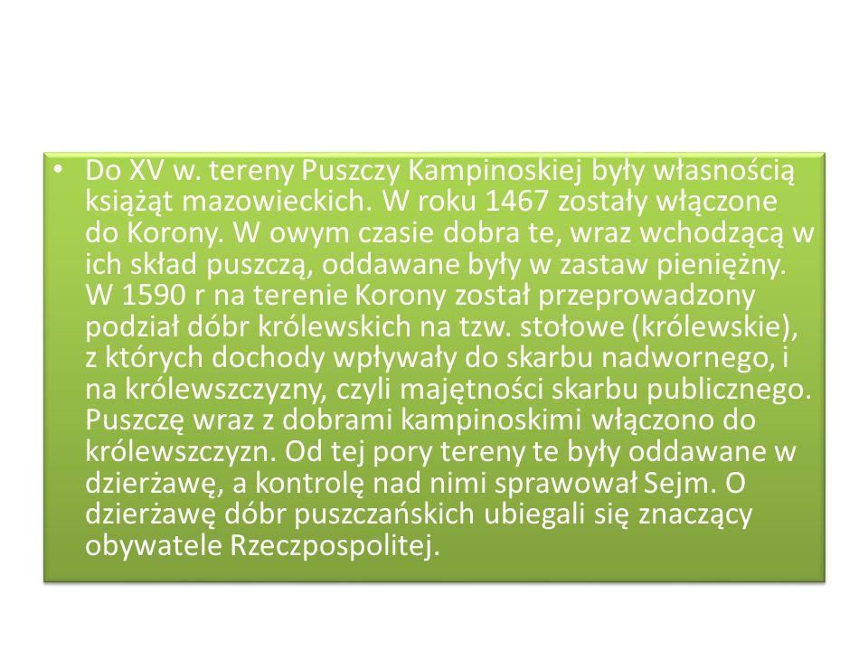Do XV w. tereny Puszczy Kampinoskiej były własnością książąt mazowieckich. W roku 1467 zostały włączone do Korony. W owym czasie dobra te, wraz wchodz