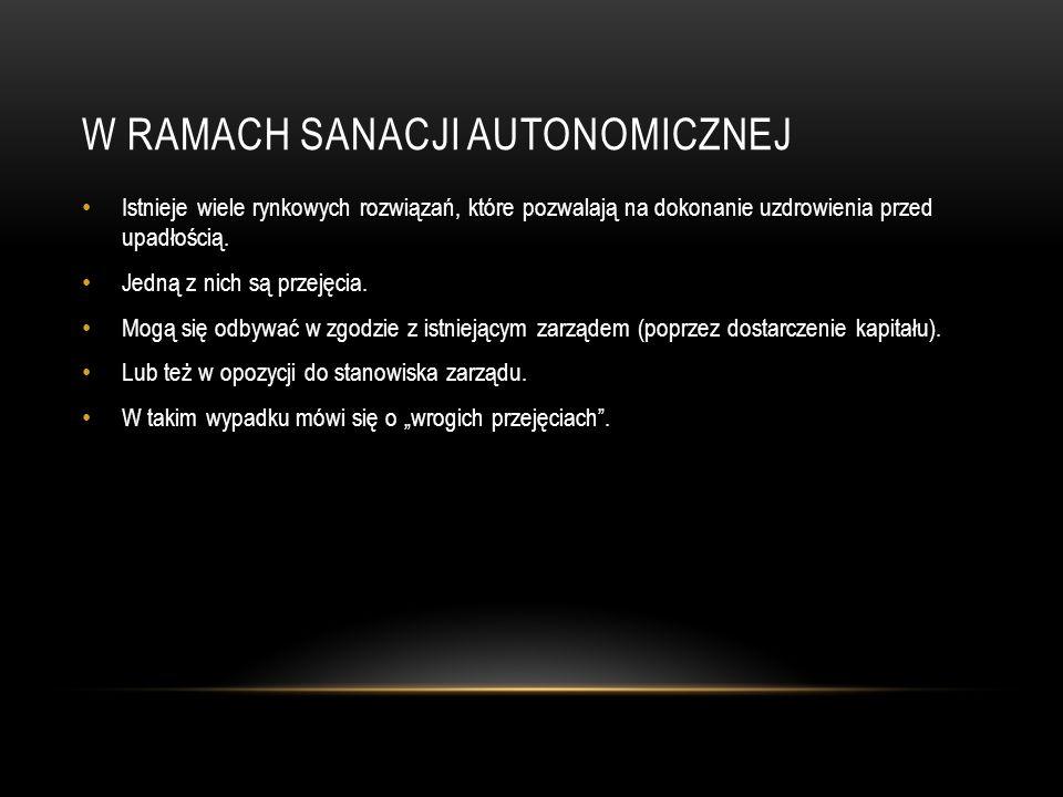 W RAMACH SANACJI AUTONOMICZNEJ Istnieje wiele rynkowych rozwiązań, które pozwalają na dokonanie uzdrowienia przed upadłością.