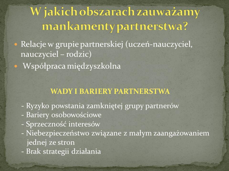 Relacje w grupie partnerskiej (uczeń-nauczyciel, nauczyciel – rodzic) Współpraca międzyszkolna WADY I BARIERY PARTNERSTWA - Ryzyko powstania zamkniętej grupy partnerów - Bariery osobowościowe - Sprzeczność interesów - Niebezpieczeństwo związane z małym zaangażowaniem jednej ze stron - Brak strategii działania