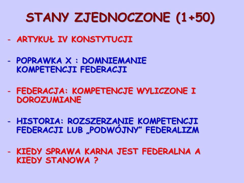"""STANY ZJEDNOCZONE (1+50) -ARTYKUŁ IV KONSTYTUCJI -POPRAWKA X : DOMNIEMANIE KOMPETENCJI FEDERACJI -FEDERACJA: KOMPETENCJE WYLICZONE I DOROZUMIANE -HISTORIA: ROZSZERZANIE KOMPETENCJI FEDERACJI LUB """"PODWÓJNY FEDERALIZM -KIEDY SPRAWA KARNA JEST FEDERALNA A KIEDY STANOWA ?"""