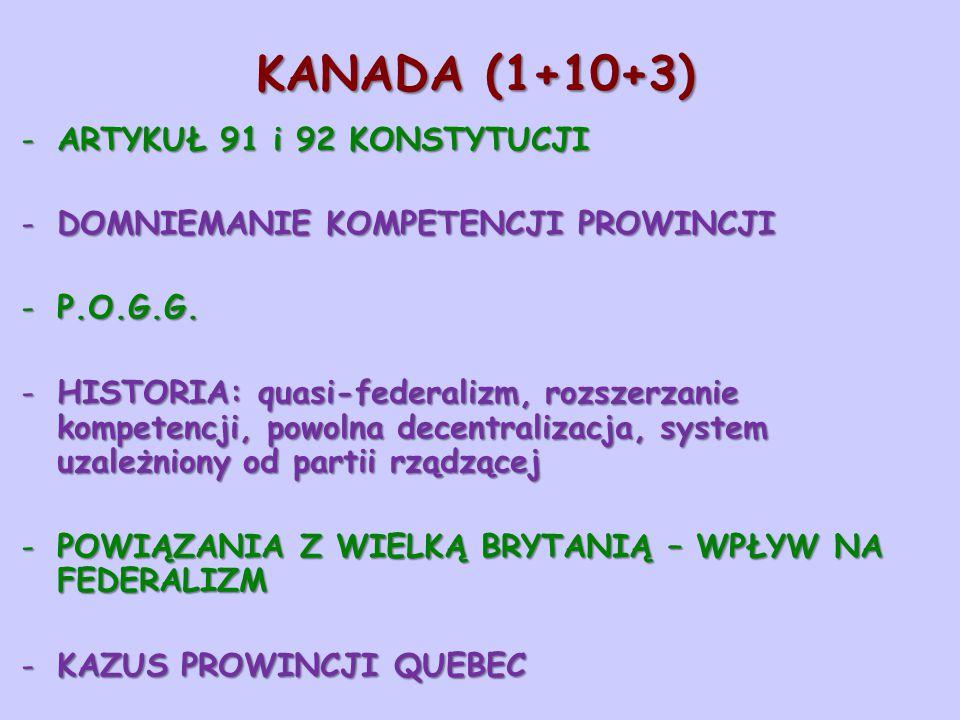 KANADA (1+10+3) -ARTYKUŁ 91 i 92 KONSTYTUCJI -DOMNIEMANIE KOMPETENCJI PROWINCJI -P.O.G.G. -HISTORIA: quasi-federalizm, rozszerzanie kompetencji, powol