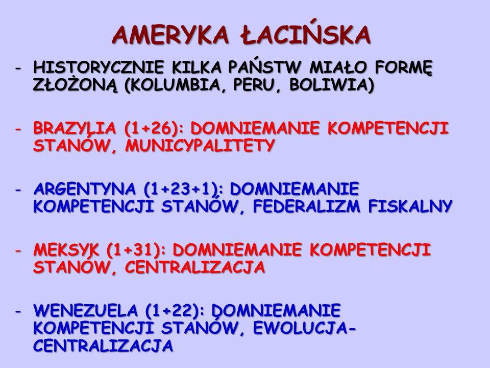 AMERYKA ŁACIŃSKA -HISTORYCZNIE KILKA PAŃSTW MIAŁO FORMĘ ZŁOŻONĄ (KOLUMBIA, PERU, BOLIWIA) -BRAZYLIA (1+26): DOMNIEMANIE KOMPETENCJI STANÓW, MUNICYPALITETY -ARGENTYNA (1+23+1): DOMNIEMANIE KOMPETENCJI STANÓW, FEDERALIZM FISKALNY -MEKSYK (1+31): DOMNIEMANIE KOMPETENCJI STANÓW, CENTRALIZACJA -WENEZUELA (1+22): DOMNIEMANIE KOMPETENCJI STANÓW, EWOLUCJA- CENTRALIZACJA