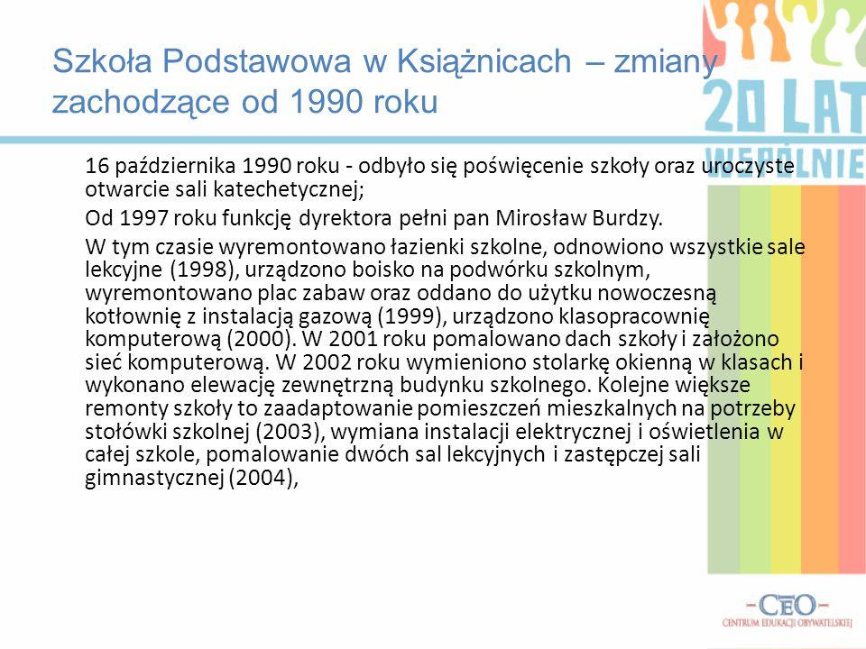 Szkoła Podstawowa w Książnicach – zmiany zachodzące od 1990 roku 16 października 1990 roku - odbyło się poświęcenie szkoły oraz uroczyste otwarcie sal