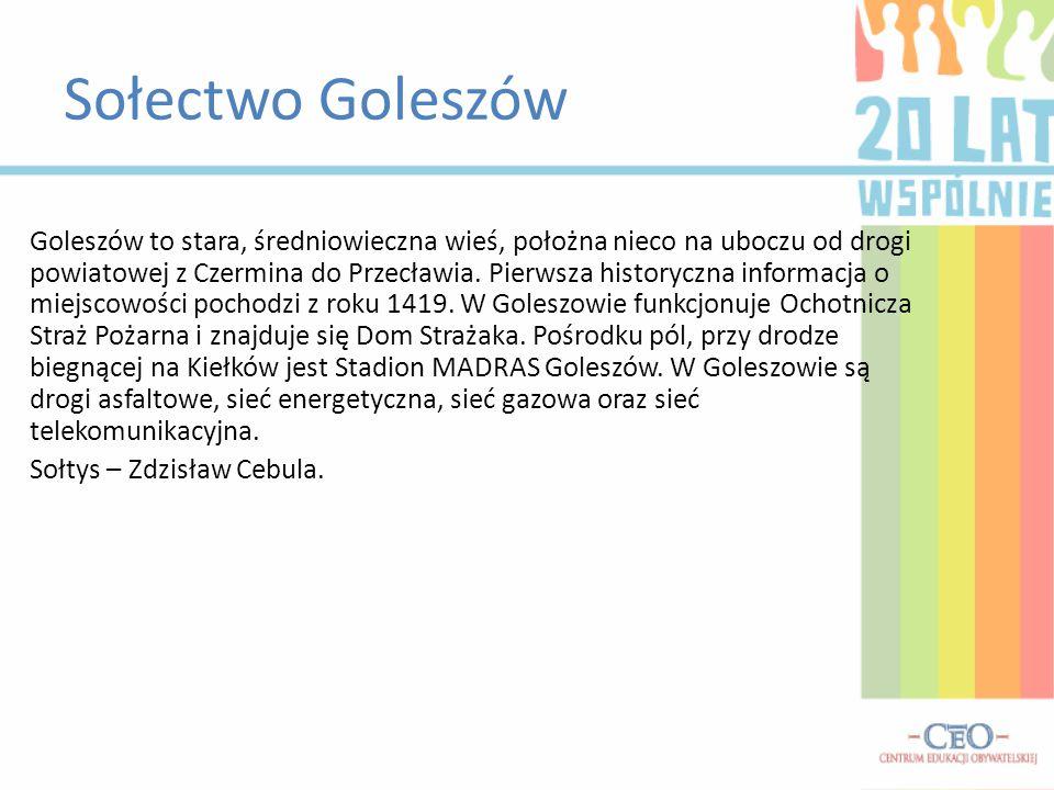 Sołectwo Goleszów Goleszów to stara, średniowieczna wieś, położna nieco na uboczu od drogi powiatowej z Czermina do Przecławia. Pierwsza historyczna i