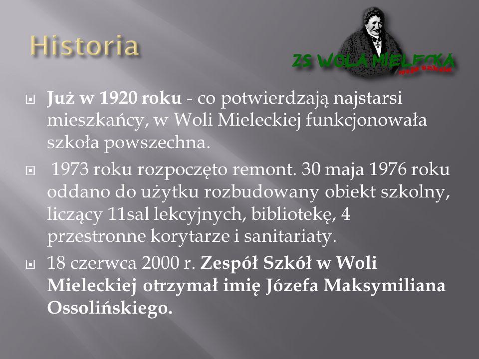  Już w 1920 roku - co potwierdzają najstarsi mieszkańcy, w Woli Mieleckiej funkcjonowała szkoła powszechna.  1973 roku rozpoczęto remont. 30 maja 19