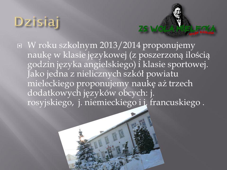  W roku szkolnym 2013/2014 proponujemy naukę w klasie językowej (z poszerzoną ilością godzin języka angielskiego) i klasie sportowej.