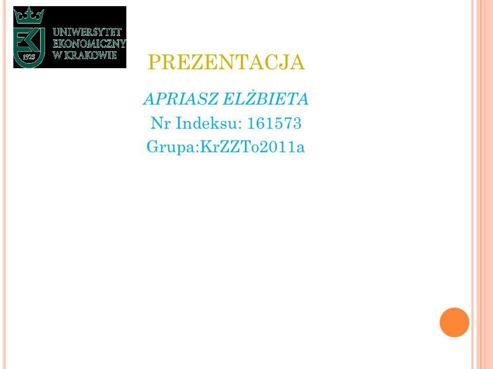 PREZENTACJA APRIASZ ELŻBIETA Nr Indeksu: 161573 Grupa:KrZZTo2011a
