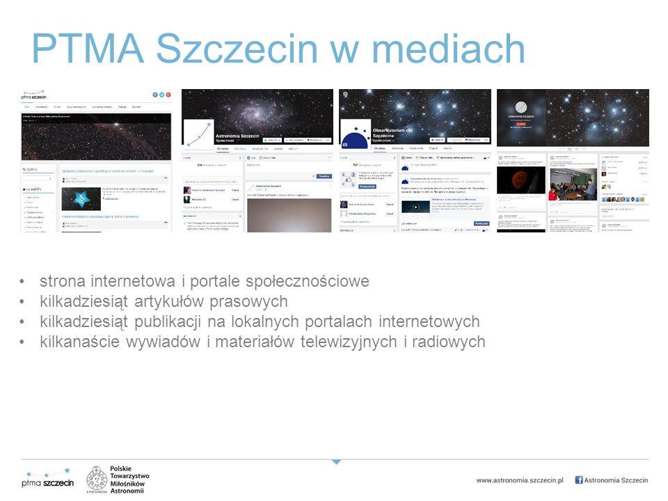 PTMA Szczecin w mediach strona internetowa i portale społecznościowe kilkadziesiąt artykułów prasowych kilkadziesiąt publikacji na lokalnych portalach internetowych kilkanaście wywiadów i materiałów telewizyjnych i radiowych