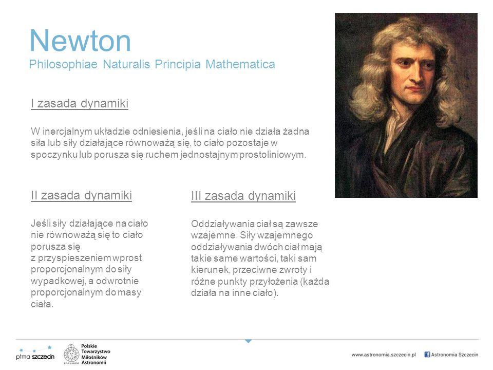 Newton I zasada dynamiki W inercjalnym układzie odniesienia, jeśli na ciało nie działa żadna siła lub siły działające równoważą się, to ciało pozostaje w spoczynku lub porusza się ruchem jednostajnym prostoliniowym.