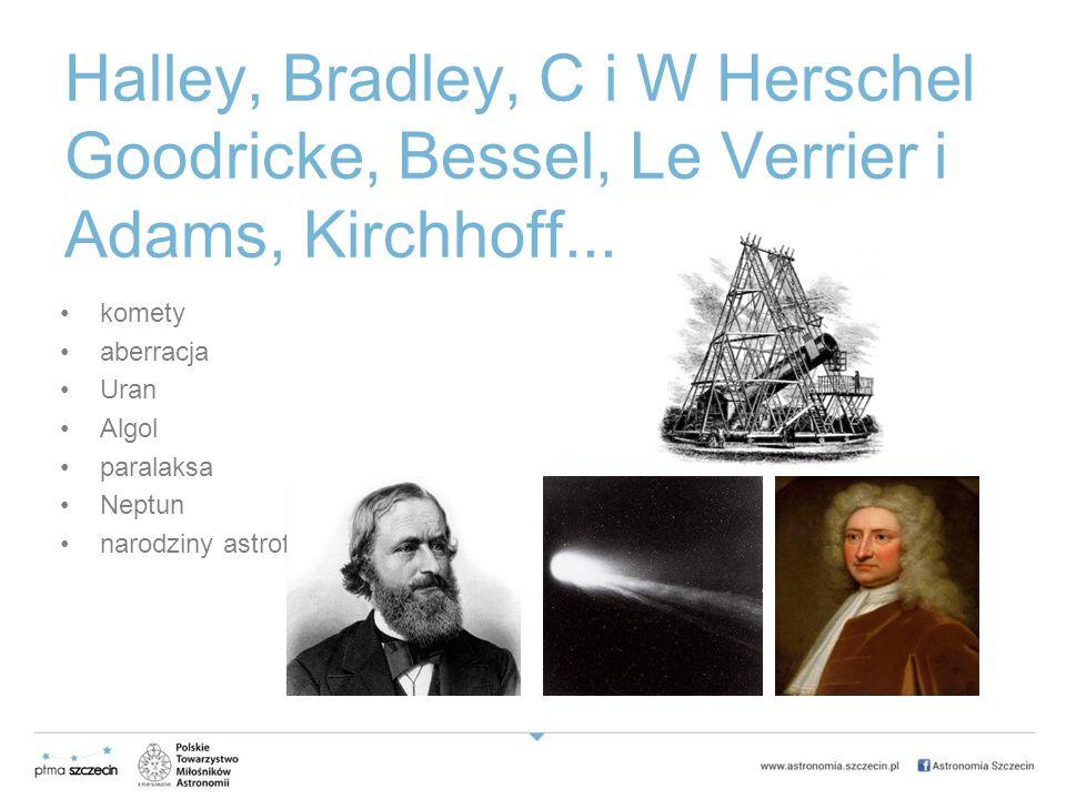 Halley, Bradley, C i W Herschel Goodricke, Bessel, Le Verrier i Adams, Kirchhoff...