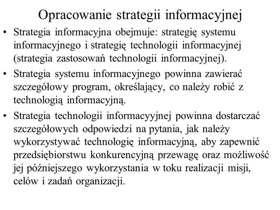 Opracowanie strategii informacyjnej -cd Nowoczesna strategia informacyjna powinna być ukierunkowana nie tyle na takie podstawowe zadania, jak ujmowanie i przetwarzanie danych, ile na przekształcanie informacji w wiedzę, a następnie na wykorzystywanie wiedzy w praktycznym działaniu.
