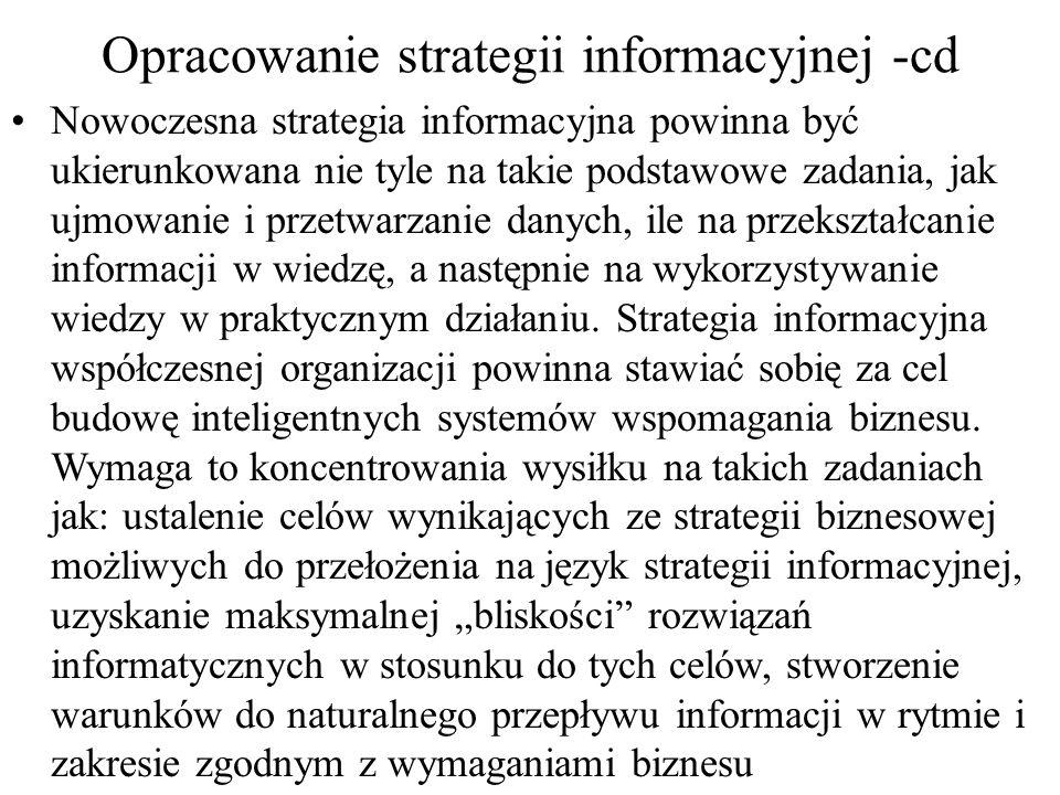 Planowanie systemów i strategii informacyjnych w pierwszym (metoda buttom-up) następuje rozpoznanie stanu, a także możliwości systemów informacyjnych i technologii informacyjnej; w drugin (metoda top-down) menedżerowie, wykorzystując nabytą wiedzę o dotychczasowych przedsięwzięciach inwestycyjnych, synchronizują rozwój systemu informacyjnego z celami i potrzebami informacyjnymi biznesu; w trzecim następuje dalsze uszczegółowienie planów rozwoju biznesu i systemów informacyjnych; w czwartym (metoda inside-out) menedżerowie poszukują innowacji zapewniających uzyskanie przewagi konkurencyjnej; w piątym następuje integracja uzgodnionych i niesprzecznych strategii rozwoju systemów informacyjnych i technologii informacyjnej ze strategią biznesu.