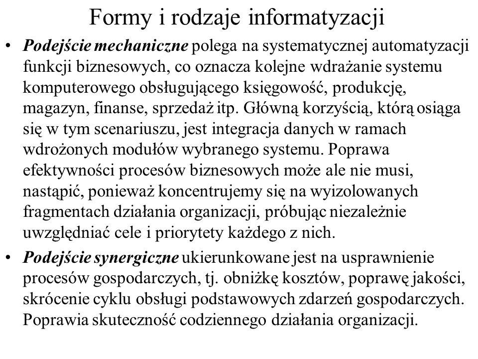 Formy i rodzaje informatyzacji Informatyzacja strategiczna - biznesowy punkt patrzenia na informatykę w organizacji