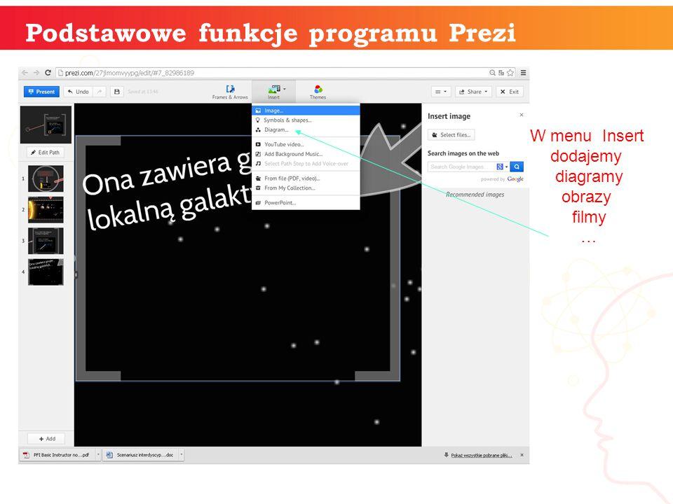 informatyka + Podstawowe funkcje programu Prezi W menu Insert dodajemy diagramy obrazy filmy …