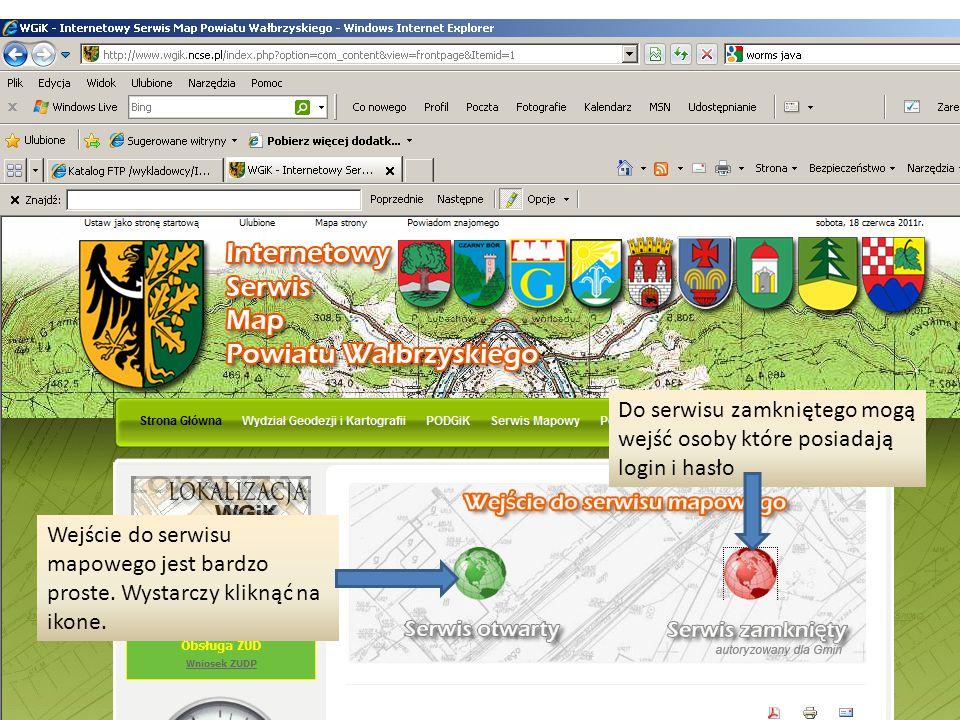 Wejście do serwisu mapowego jest bardzo proste. Wystarczy kliknąć na ikone.