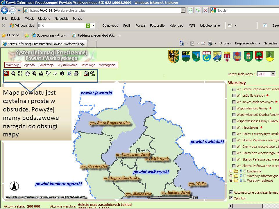 Mapa powiatu jest czytelna i prosta w obsłudze. Powyżej mamy podstawowe narzędzi do obsługi mapy