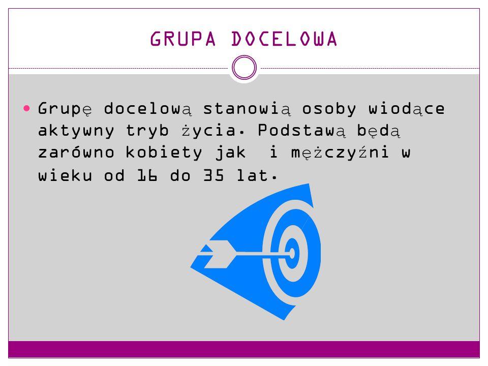 GRUPA DOCELOWA Grupę docelową stanowią osoby wiodące aktywny tryb życia.