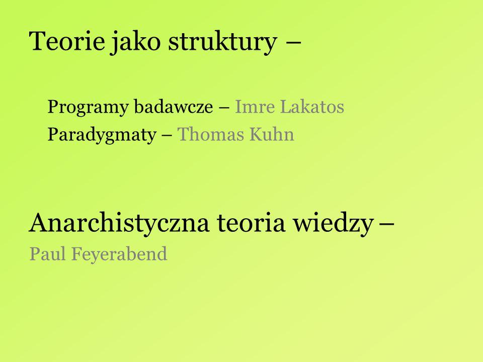 Teorie jako struktury – Programy badawcze – Imre Lakatos Paradygmaty – Thomas Kuhn Anarchistyczna teoria wiedzy – Paul Feyerabend