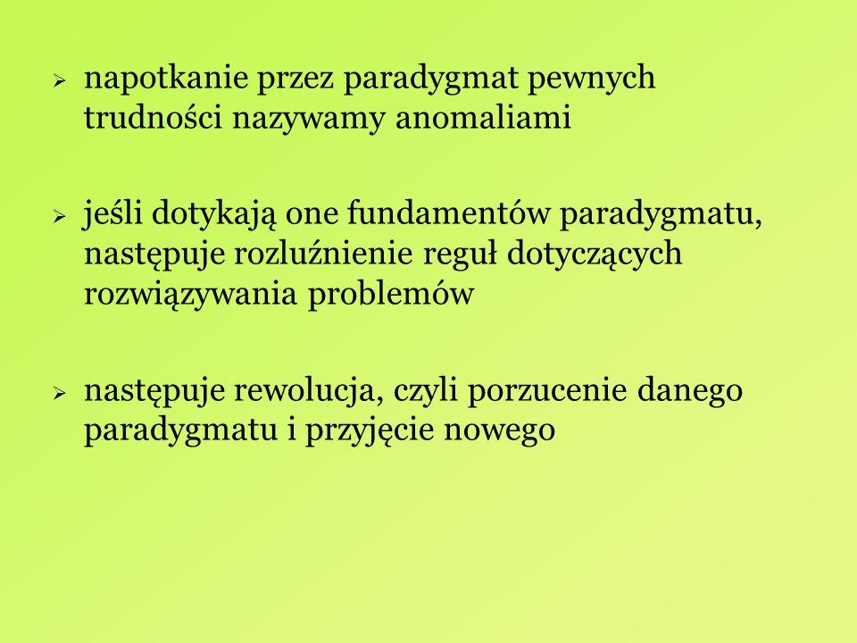  napotkanie przez paradygmat pewnych trudności nazywamy anomaliami  jeśli dotykają one fundamentów paradygmatu, następuje rozluźnienie reguł dotyczą