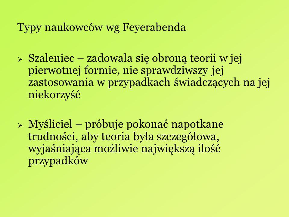 Typy naukowców wg Feyerabenda  Szaleniec – zadowala się obroną teorii w jej pierwotnej formie, nie sprawdziwszy jej zastosowania w przypadkach świadc