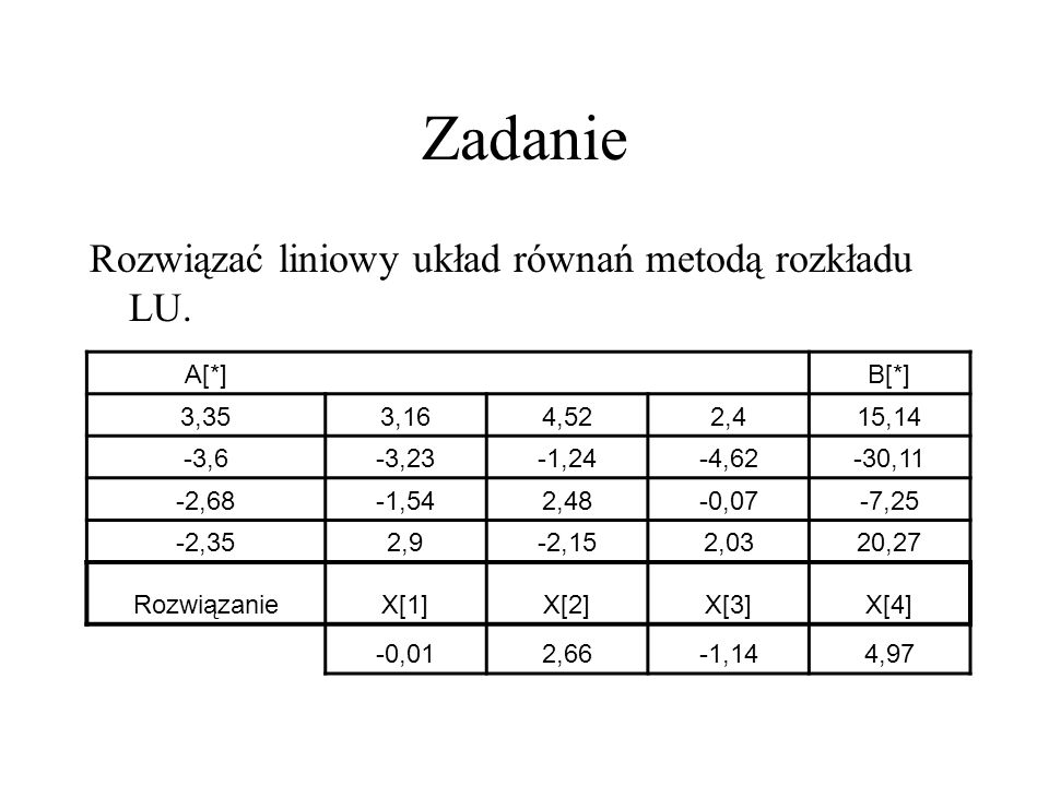 Zadanie Rozwiązać liniowy układ równań metodą rozkładu LU.