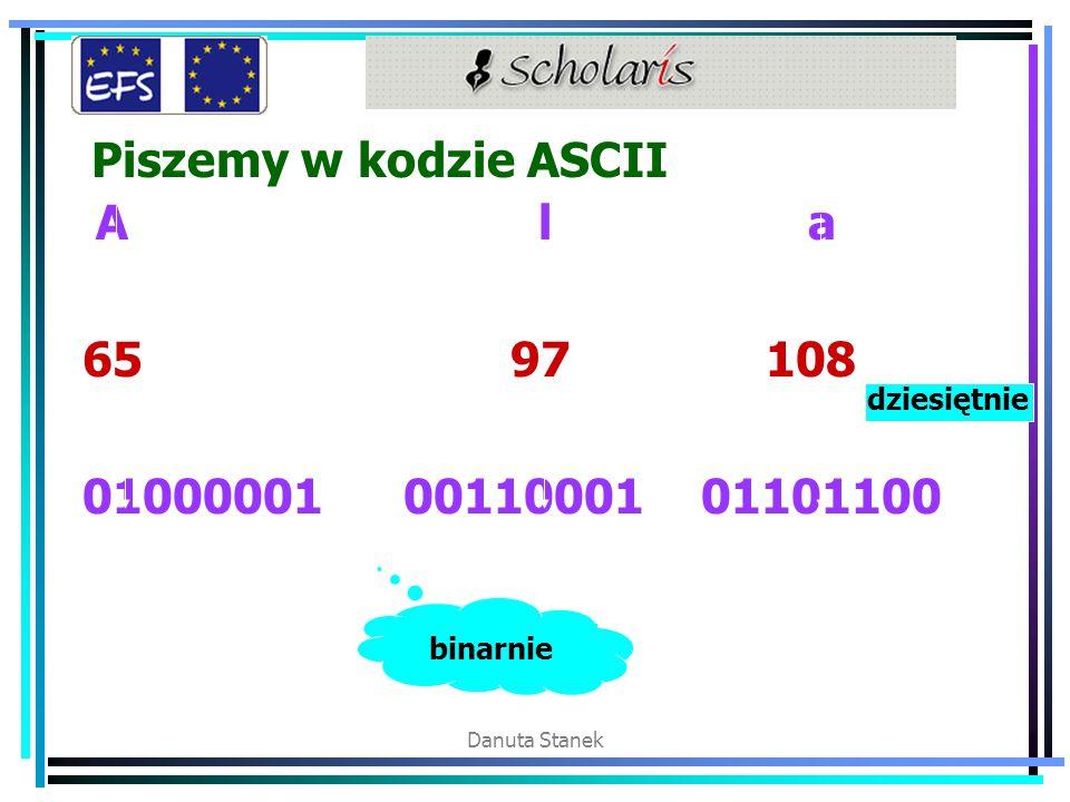 Danuta Stanek Piszemy w kodzie ASCII A l a 65 97 108 0100000100110001 01101100 binarnie dziesiętnie