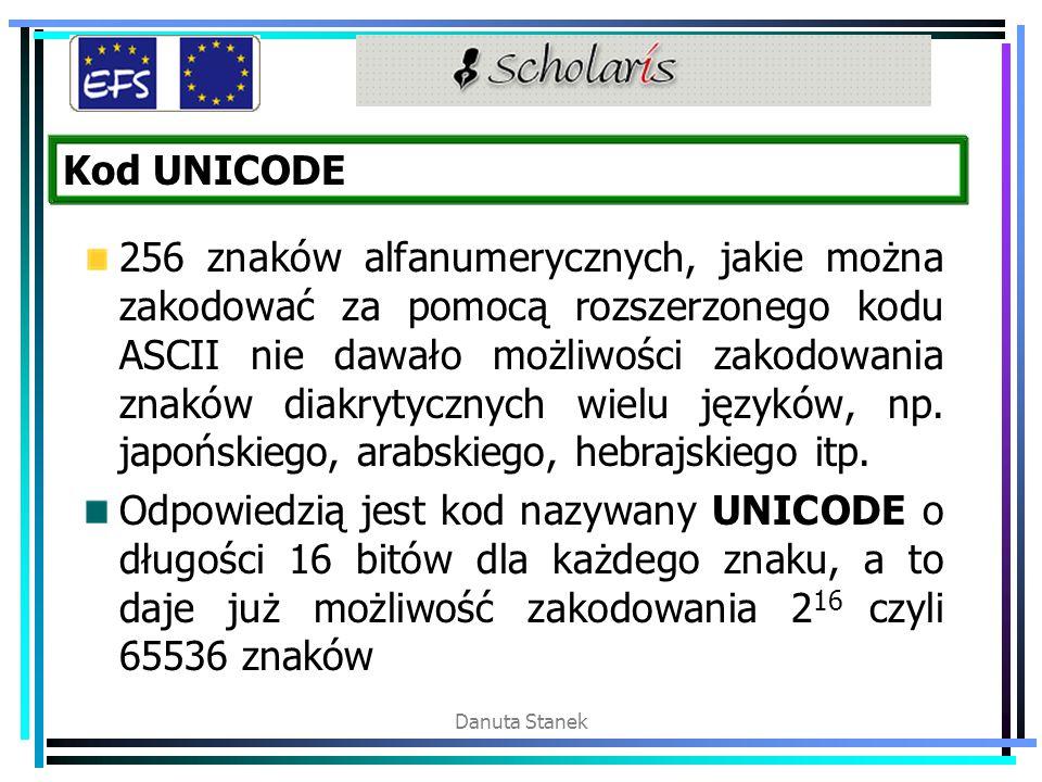 Danuta Stanek Kod UNICODE 256 znaków alfanumerycznych, jakie można zakodować za pomocą rozszerzonego kodu ASCII nie dawało możliwości zakodowania znak