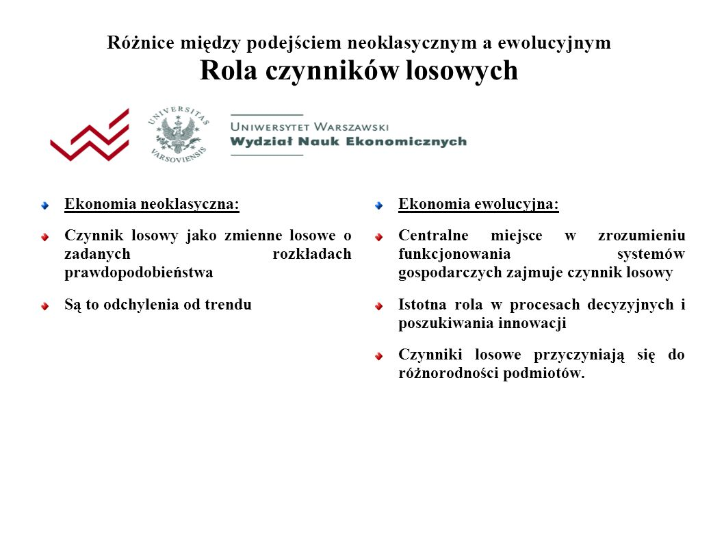 Różnice między podejściem neoklasycznym a ewolucyjnym Rola czynników losowych Ekonomia neoklasyczna: Czynnik losowy jako zmienne losowe o zadanych rozkładach prawdopodobieństwa Są to odchylenia od trendu Ekonomia ewolucyjna: Centralne miejsce w zrozumieniu funkcjonowania systemów gospodarczych zajmuje czynnik losowy Istotna rola w procesach decyzyjnych i poszukiwania innowacji Czynniki losowe przyczyniają się do różnorodności podmiotów.