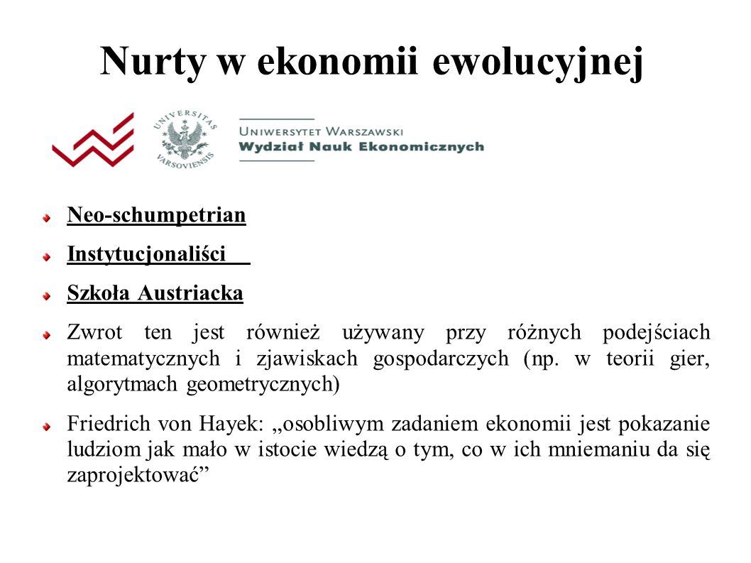 Nurty w ekonomii ewolucyjnej Neo-schumpetrian Instytucjonaliści Szkoła Austriacka Zwrot ten jest również używany przy różnych podejściach matematycznych i zjawiskach gospodarczych (np.
