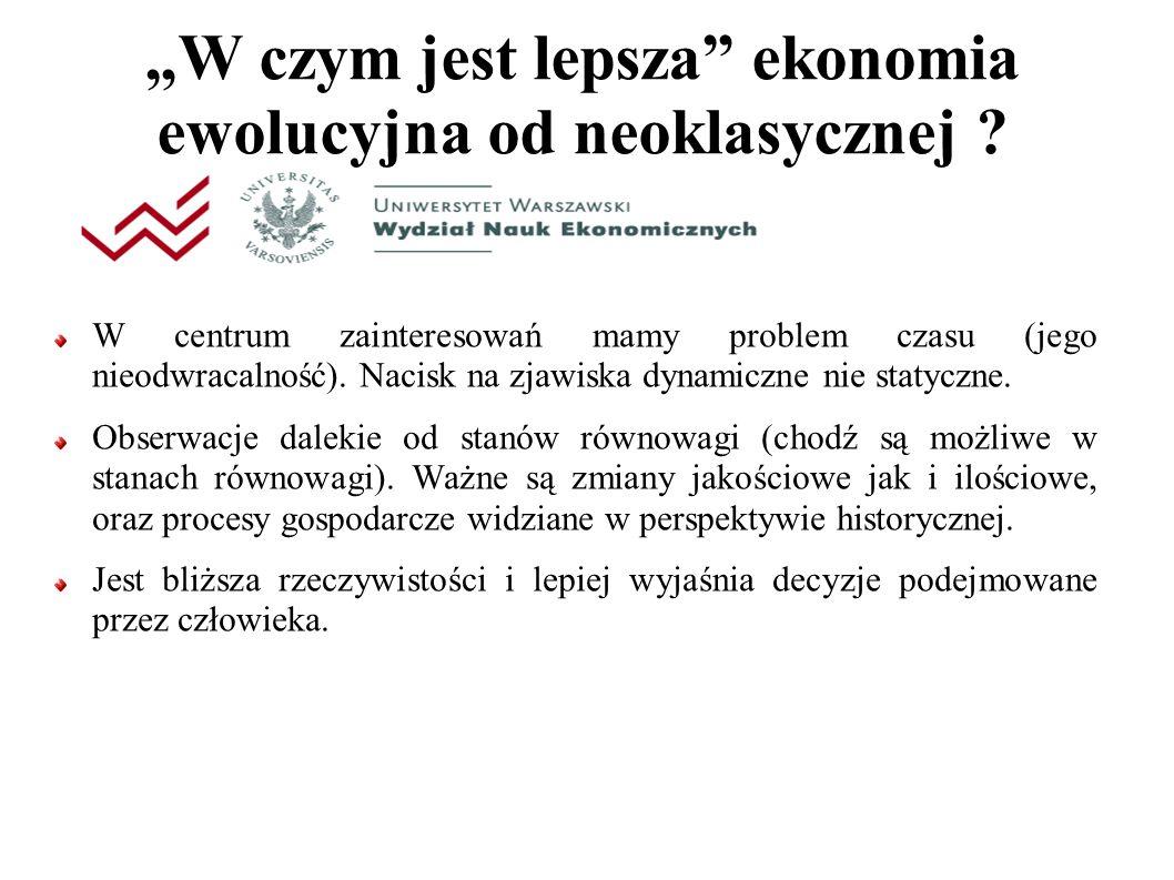 """""""W czym jest lepsza ekonomia ewolucyjna od neoklasycznej ."""