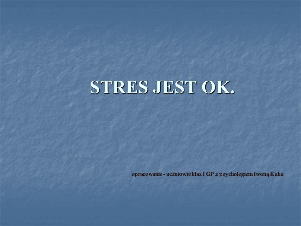 STRES JEST OK. opracowanie - uczniowie klas I GP z psychologiem Iwoną Kuka