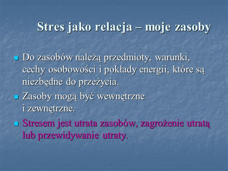 Stres jako relacja – moje zasoby Stres jako relacja – moje zasoby Do zasobów należą przedmioty, warunki, cechy osobowości i pokłady energii, które są
