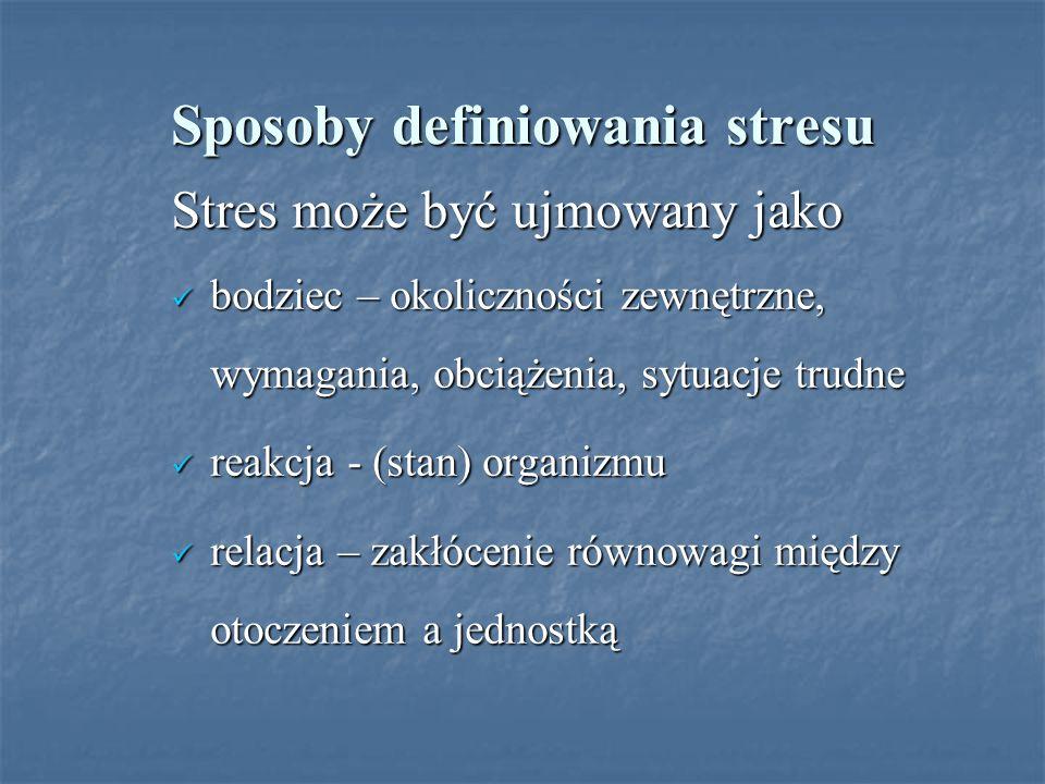 Sposoby definiowania stresu Stres może być ujmowany jako bodziec – okoliczności zewnętrzne, wymagania, obciążenia, sytuacje trudne bodziec – okoliczno
