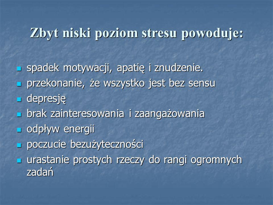 Zbyt niski poziom stresu powoduje: spadek motywacji, apatię i znudzenie.