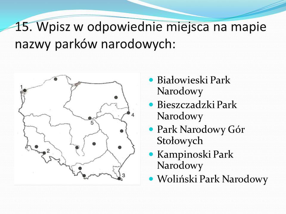 15. Wpisz w odpowiednie miejsca na mapie nazwy parków narodowych: Białowieski Park Narodowy Bieszczadzki Park Narodowy Park Narodowy Gór Stołowych Kam