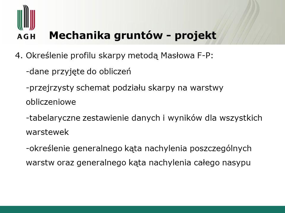 Mechanika gruntów - projekt 4. Określenie profilu skarpy metodą Masłowa F-P: -dane przyjęte do obliczeń -przejrzysty schemat podziału skarpy na warstw