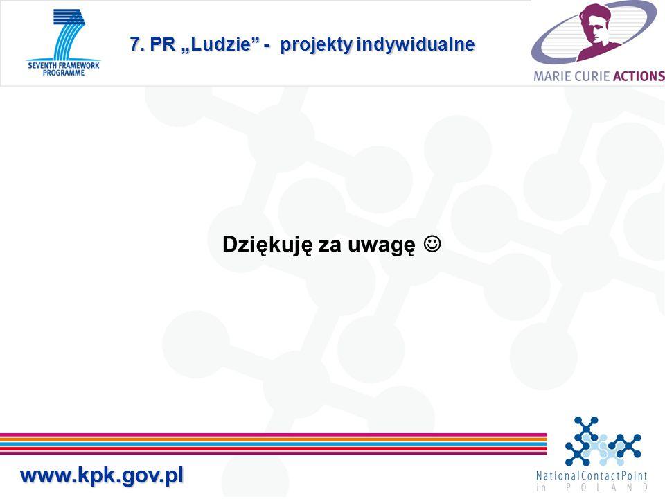 """7. PR """"Ludzie - projekty indywidualne Dziękuję za uwagę www.kpk.gov.pl"""