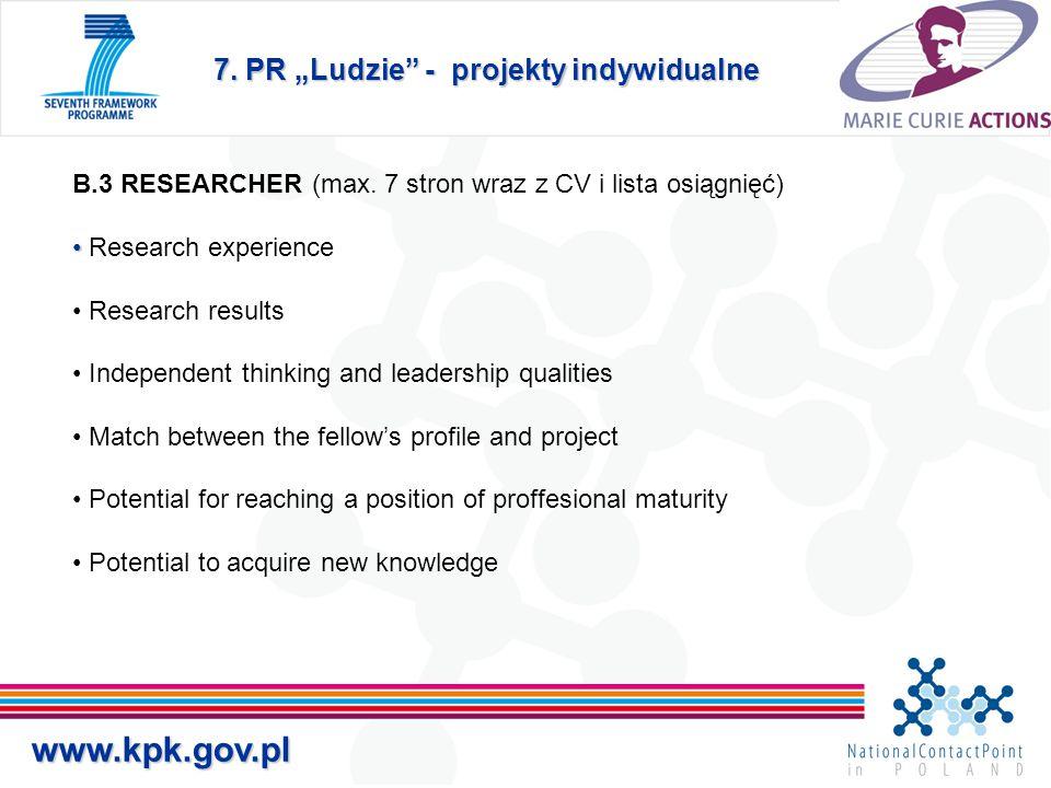 """7. PR """"Ludzie - projekty indywidualne www.kpk.gov.pl B.3 RESEARCHER (max."""