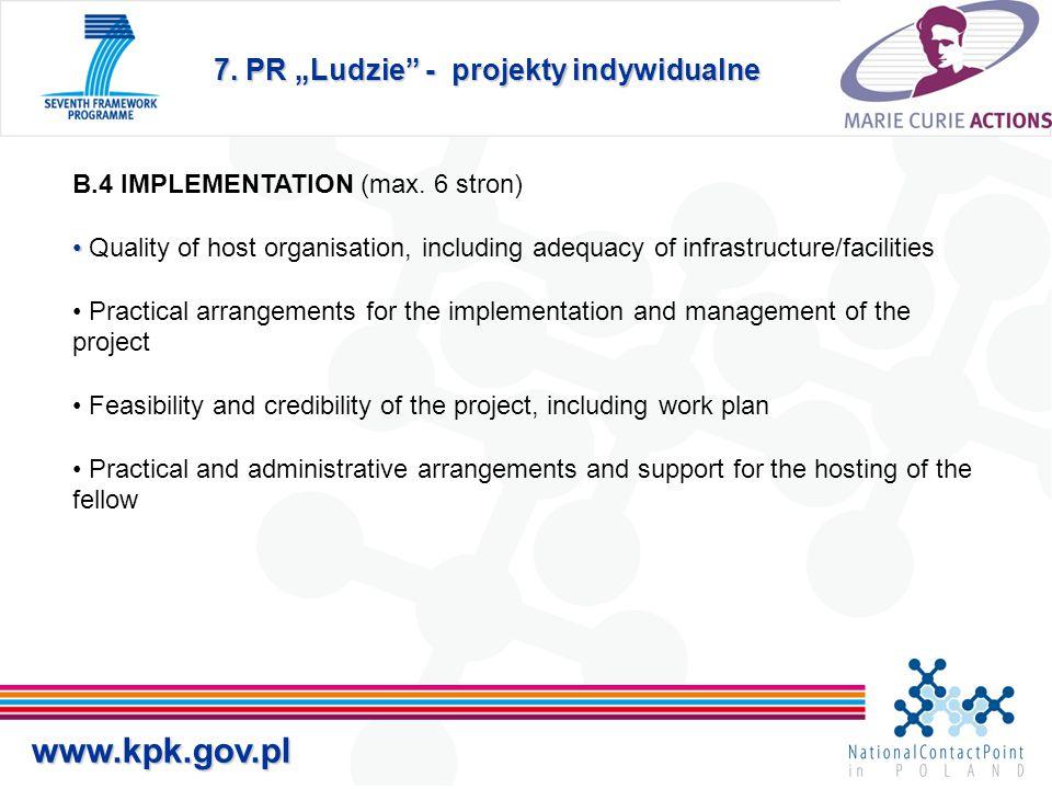 """7. PR """"Ludzie - projekty indywidualne www.kpk.gov.pl B.4 IMPLEMENTATION (max."""